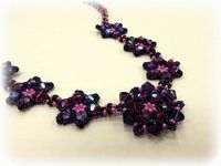 Pretty Petals Beadwork Necklace Jewellery Making Kit with SWAROVSKI® ELEMENTS Berry Tones
